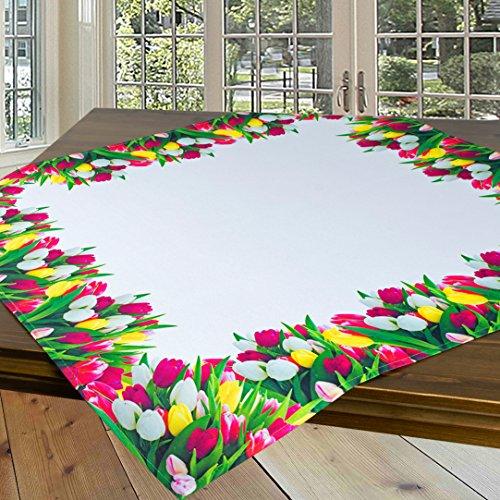 Nappe de table PRAIRIE TULIPE / blanc / carré / 85x85 cm