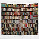 izielad Bibliothek Tapisserie Wandbehang Bücherregal mit Bücher Wand Kunst Dekoration Wandteppiche für Schlafzimmer Wohnzimmer College Wohnheim Dekor 229x153cm 90