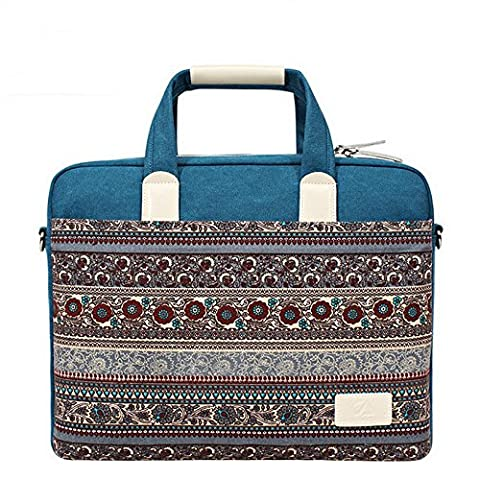 15-15.6 Inch Canvas Laptop Cases Bohemian Style Computer Bags Tablet Messenger Shoulder Bag with Handle and Strap For Notebook Computer/Laptop/Macbook Air/Macbook pro (15-15.6Inch, Blue)
