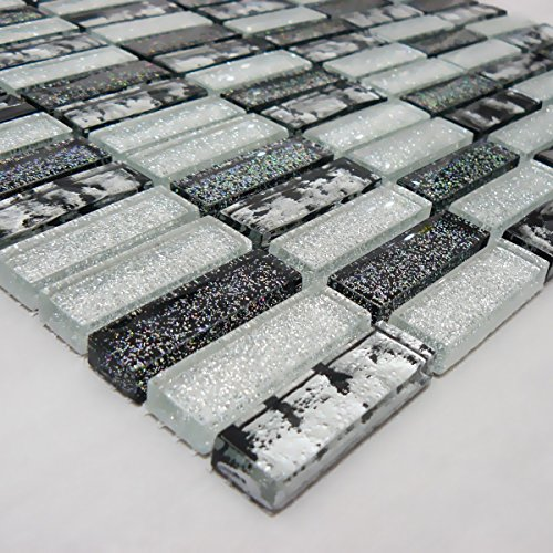 Silver & Black Glass Glitter Mosaic Tile Sheet For Walls Floors Bathroom Kitchen (1 Sheet 30cm X 30cm)