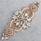 Kleine Strass und Perle Applique für Hochzeitskleid Gürtel und Schärpe Kopfstück Strumpfbänder (Rose Gold)
