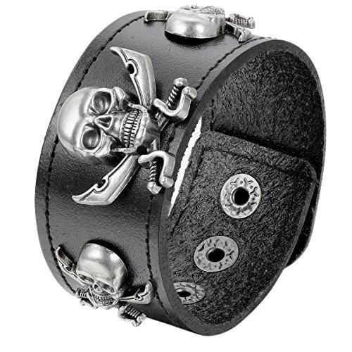 rren Armband, Piraten Gotik Totenkopf Schädel Leder Armreif, Echtleder, Druckknopf, Schwarz ()