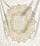 Indisch Psychedelic Wandteppich Mandala Metallic Glanz Gold weiß,Elefant Boho Wandtuch Hippie,Golden Boho Indischer weiss Wandbehang Mandala Tuch 140x210cms ,Indien baumwolle Bohemian Wand tucher