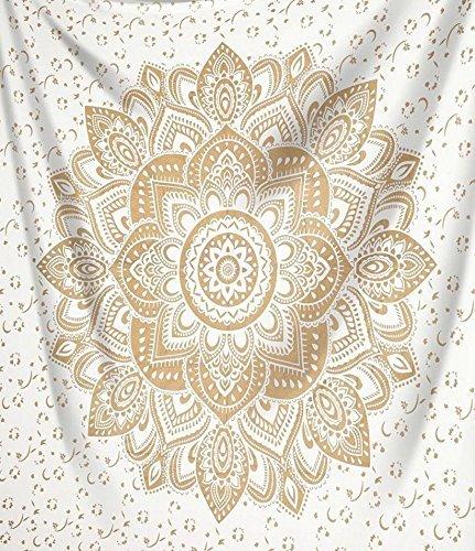 Indisch Psychedelic Wandteppich Mandala Metallic Gold weiß,Elefant Boho Wandtuch Hippie,Golden Boho Indischer weiss Wandbehang Tuch,Groß indien baumwolle Wand tucher (Gold Passion, 140 x 210 cm Twin)