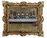 Made in Italy Barock Gemälde Bild mit Rahmen Repro Antik Look Jesus Christus mit Den Zwölf Aposteln 12 Apostel Das Letzte Abendmahl Jesu Ultima Cena 45x38 cm Gold