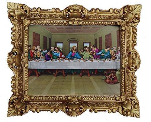 Made in italy quadro barocco quadro con cornice repro antique look jesus christus con i dodicesimi apostel 12 apostel l'ultima sera jesu ultima cena 45x38 cm oro