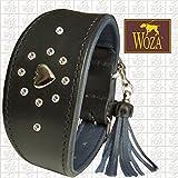 Woza Premium Windhund Halsband 6,3/42CM Oberon Swarovski Steine Vollleder Rindleder Nappa Handmade Greyhound Collar