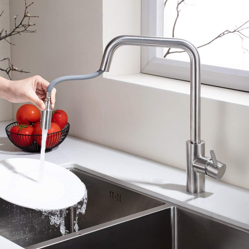 HOMELODY Grifo de Cocina 360°Giratorio Extraíble Monomando Agua Fría y Caliente Grifo Cepillado