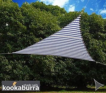 Kookaburra Waterproof Sun Sail Shade Canopy 3m Triangle in Blue and White Stripe Amazon.co.uk Garden u0026 Outdoors & Kookaburra Waterproof Sun Sail Shade Canopy 3m Triangle in Blue ...