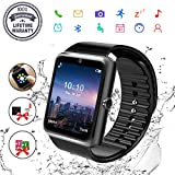Bluetooth Smartwatch, Uhr Smart Watch mit Kamera TF Sim-Kartensteckplatz Wasserdicht Uhren Fitness Tracker Armbanduhr Kompatible Samsung Android Huawei Sony iPhone für Herren Damen