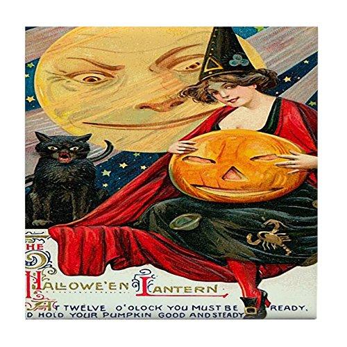 CafePress–Vintage Halloween Hexe schwarz Katze Moo–Tile Untersetzer, Drink Untersetzer, Untersetzer, Klein (Rebecca Vorhänge)