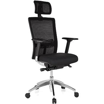 hjh OFFICE 657501 Bürostuhl Chefsessel ASTRA LUX Netzstoff schwarz, abriebfester Polsterstoff, hoher Sitzkomfort, Drehstuhl ergonomisch, verstellbare Armlehnen, Schreibtischstuhl, Chefsessel, Kopfstütze