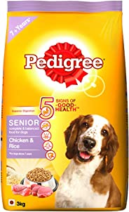 Pedigree Senior (7+ Years) Dry Dog Food, Chicken & Rice, 3kg Pack