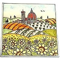 CERAMICHE D'ARTE PARRINI- Ceramica italiana artistica , mattonella decorazione paesaggio