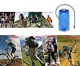MCTECH Faltbare Trinkblasen Wasserbeutel 2L PEVA Blau Hydratation-Blasen Trinksystem für Camping Wandern Reiten und Klettern (2L) - 5