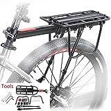 ZOOYAUE Mountainbike Gepäckträger, Einstellbare Träger Fahrrad Gepäckträger,Maximalbelastung 100kg,Aluminiumlegierung,Schnelle Installation,mit Reflektor