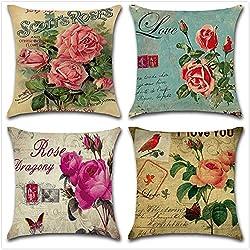 PYHQ Juego de 4 fundas de cojín de lino 45 x 45cm Vintage flores amor rosas