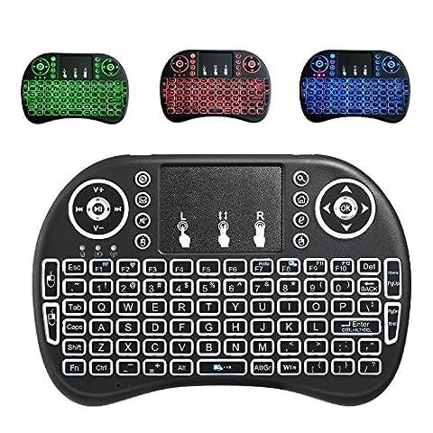 Mini drahtlose Tastatur, Wishpower 2,4Ghz mini wireless Keyboard LED Hintergrundbeleuchtung Ergonomische tastatur mit touchpad für tastatur Smart TV, Raspberry Pi 3, PC fernbedienung (Farbe)