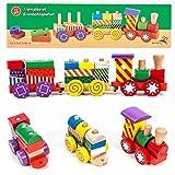 Marionette Wooden Toys Holz Eisenbahn Spielset mit 3 Wagen und 14 Holzbausteinen, Steckverbindung, 17-teilig, bunt
