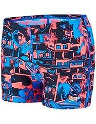 Speedo Boy 's favelamix Allover Brief, color azul neón/Psycho Rojo, Tamaño 30/6,5cm