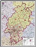 XXL Bundesländerkarte Hessen mit Postleitzahlen, Leitbereiche in Farbe - Mit Poster Leisten (weiß lackiert Massivholz), beidseitig matt antireflexierend extra stark laminiert (reißfest, beschreib- und abwaschbar)