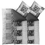 aqua-textil Bettwäsche 4tlg 135x200 Baumwolle Set Kopfkissen Bettbezug Reißverschluss atmungsaktive Bett Garnitur Kissen Bezug Leopard uni Streifen schwarz grau weiß Wendedesign 0011834 Leotine