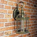 Anmutige Wandleuchte in antikgold inkl. 1x 12W E27 LED 230V Wandlampe aus Aluminium & Glas für Garten/Terrasse Garten Weg Terrasse Lampe Leuchten außen
