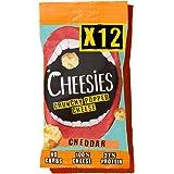 Snack de Queso Crujiente Cheesies, Cheddar. Sin Carbohidratos, Alto en Proteínas, Sin Gluten, Vegetariano, Ceto. 12 Bolsas de