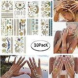 Tattoo Tätowierung Metallic Tattoos Temporäre Tattoo Aufkleber Glitzer Tattoo 10 Sheets für Frauen Jugendliche Mädchen