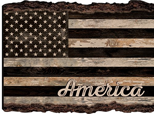 American Flagge in rustikaler 9 x 12 Holz Rinde Rand Design Art Wand Schild - Flag-wall Plaque