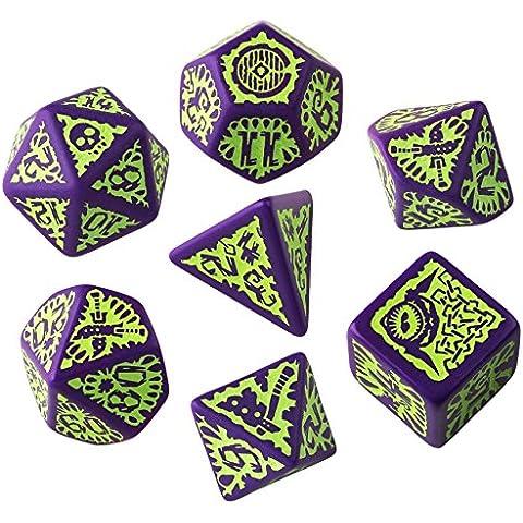 Set de dados Pathfinder Goblin Verde púrpura (7)