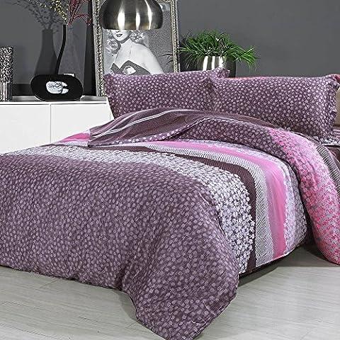 Lighting 500TC simple minimalismo estilo 100% algodón/algodón geométrico patrón Juego de funda de edredón de 4piezas (1duvet Covers 1plano hojas 2pillowcases) -C queen1, C, Twin2