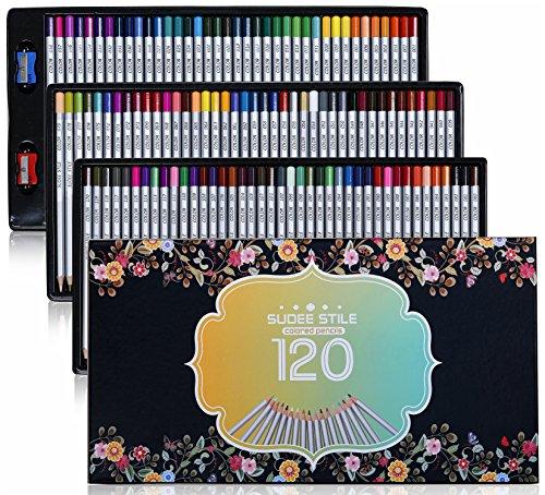 SUDEE STILE 120 colores Paquete (Sin duplicados) Lápices de colores Dibujo del arte con Caja