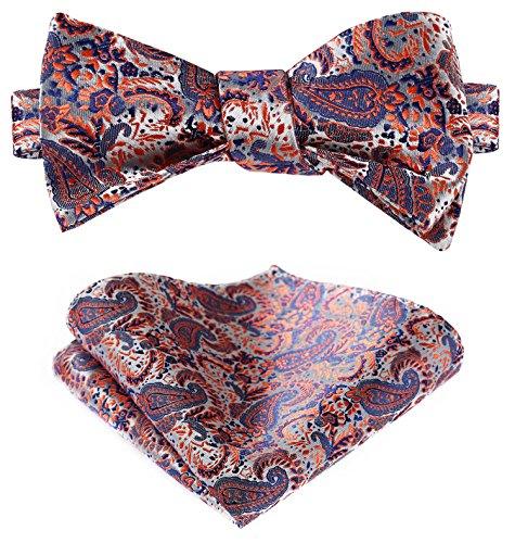 Orange Silk Bow Tie (HISDERN Men's Paisley Jacquard Self Bow Tie Set One Size Orange / Purple)