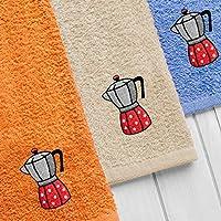 Barceló Hogar 08050640500 Estuche 3 paños modelo Cafeter, motivo bordados, rizo americano, ...