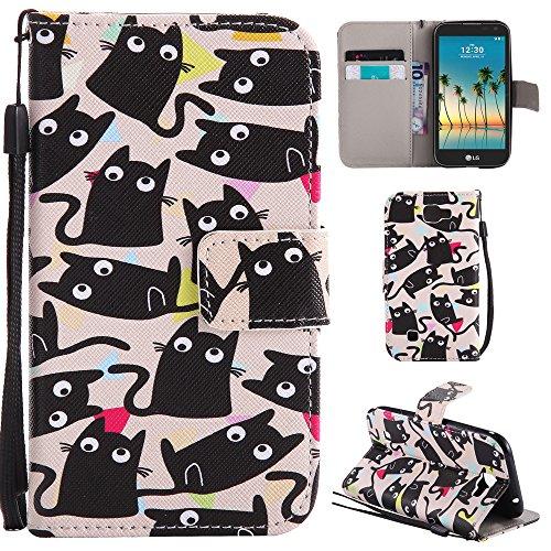 Ooboom® LG K3 2017 Hülle Flip PU Leder Schutzhülle Handy Tasche Case Cover Wallet Standfunktion mit Kartenfächer Trageschlaufe für LG K3 2017 - Katze Schwarz