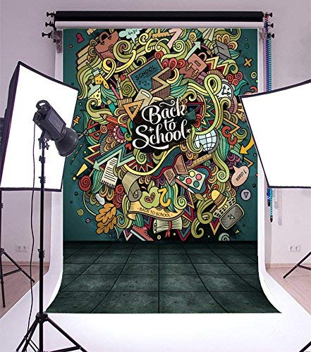 vrupi 3x5ft Vinyl Backdrop Photography Background Back to School Theme Backdrop Cartoon Cute Doodles Hand Drawn Design Colorful Objects Funny Learning Tools Square Tile Floor Students Children
