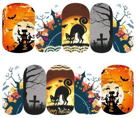 Halloween Cartoon Nagel Aufkleber Dekoration Wasser Transfer Halloween - A1086 Nail Sticker Tattoo - FashionLife (Nail Halloween Transfers)