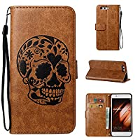 Huawei P10 Plus Case CUSKING Shockproof Leather Filp Wallet Case with Kick Stand and Wrist Strap for Huawei P10 Plus, Embossed Skull Pattern Magnetic Full Protective Bumper Case Cover �?? Light Brown