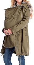 Maternity Damen Umstandsmode Reißverschluss Jacken Drucken Mantel Lange Ärmel Mantel Herbst Winter Jacke Revers Fellkapuze Armee-Grün S-XXXL