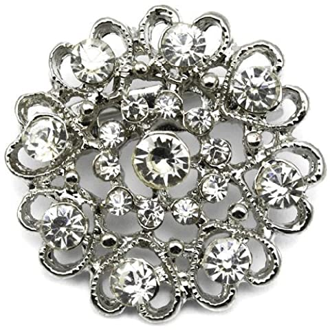 Elixir77UK Silver Colour Heart and Flower Wedding Pin Brooch With Plain Crystals