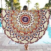 Goodsatar Poliéster Redondo playa Piscina Manta de la toalla de la ducha del hogar Paño de mesa Estera de yoga(150cmX150cm/59*59inch) (Multicolor01)