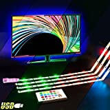 USB 4 x 50 cm bande LED RVB avec télécommande USB Éclairage LED pour rétro-éclairage d'écran TV HDTV
