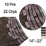 (35cm-55cm) Clip In Extensions 10 Teiliges SET 120g 100% Remy Echthaar für Komplette Haarverlängerung glatt Haarteile (2#, Dunkelbraun, 35cm)