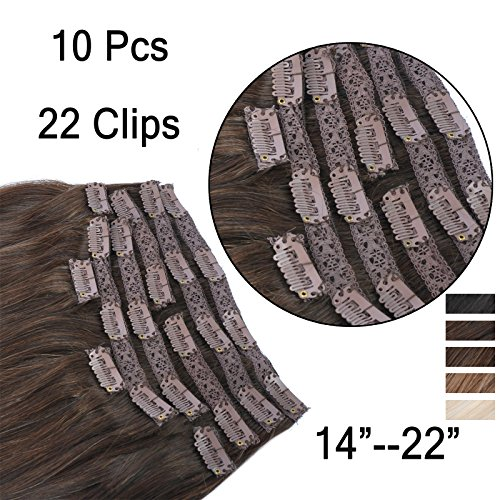 (35cm-55cm) Clip In Extensions 10 Teiliges SET 220g 100% Remy Echthaar für Komplette Haarverlängerung glatt Haarteile (2#, Dunkelbraun, 55cm)