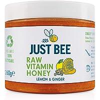 Just Bee Raw Vitamin Lemon and Ginger Honey, Natural Honey with Vitamins, Including Vitamin C, B6, B12, Echinacea (260g…