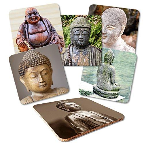 """Addies Glas-Untersetzer 6er-Set\""""Buddha\"""", mit Kork-Untermaterial und in schöner Klarsichtbox geliefert"""