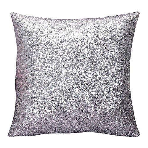 Hippolo Solid Color Glitter Pailletten Dekokissen Fall Cafe Home Decor 40cm*40cm Kissenbezüge (Silber)