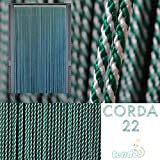 """Tenda/Moschiera in Corda - Modello CORDA - ASTA IN ALLUMINIO - Made in Italy - Misure Standard o Personalizzabili (80X200/90X200/95X200/100X220/120X230/130X240) PER ALTRI MODELLI CERCA """"CIRILLO TENDE"""" (120X230, BIANCO & VERDE 22)"""