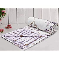Trance Home Linen Pure Cotton Reversible Double Bed Lightweight Blanket - 84X90 inch, Akira Lavender